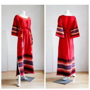 Vintage Traditional Mexican Red Maxi Dress